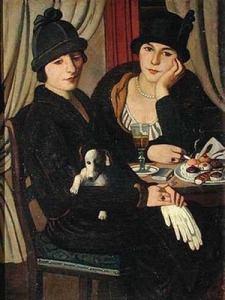Mujeres en la cafetería - Piero Marussig - visitas guiadas milan